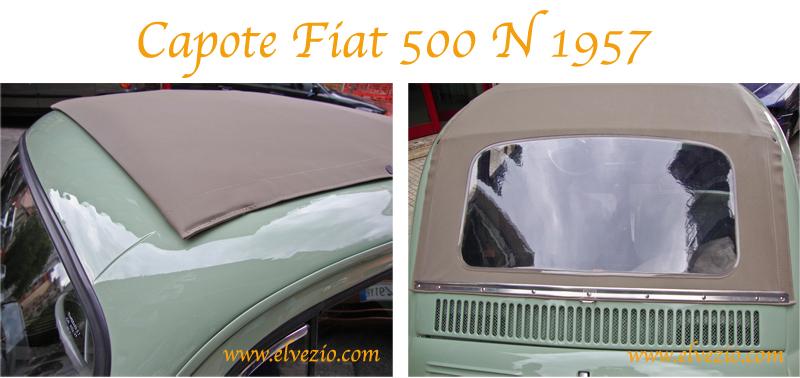 CAPOTE IN TESSUTO PVC NERO CON INTERNO BIANCO PER FIAT 500 F-L-R D/'EPOCA